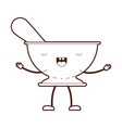 kitchen bowl with spoon cartoon brown silhouette vector image