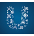 Letter U font frosty snowflakes vector image
