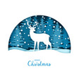 merry christmas card white deer in the snow vector image