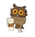 owl with cup of coffee funny character isolated vector image