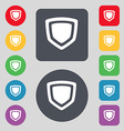 shield icon sign A set of 12 colored buttons Flat vector image