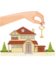 Woman hand with house key and cottage vector image