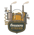 wooden circle of beer and brewing machine vector image vector image