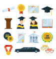 icons set of graduation student party gown vector image