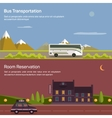 Bus and car with luggage or baggage on road near vector image