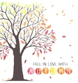 Autumn tree with falling down leaves vector image