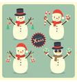 Christmas snowman set vector image