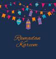 ramadan lanterns garland pattern arabic vector image
