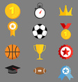 Sports icons flat style templates vector image