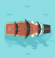 top view vintage wooden pirate buccaneer vector image