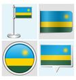 Rwanda flag - sticker button label flagstaff vector image