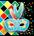 carnival mask on harlequin background vector image
