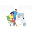 Creative office people working with computer vector image