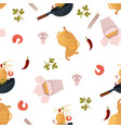 flat udon noodles wok seamless pattern vector image