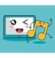 music note character kawaii style vector image