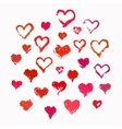 Painted valentine hearts set vector image