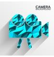 Polygonal camera blue background concept ta vector image
