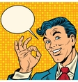 Retro businessman OK gesture vector image