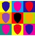 Shield sign Pop-art style icons set vector image