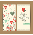 valentine card set with hearts and arrows vector image