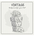 Vintage background with a birthday cake vector image