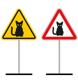 Warning sign attention cats Hazard yellow sign a vector image