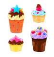 set of four icons in a cartoon style delicious vector image