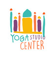 yoga studio center logo colorful hand drawn vector image
