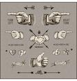 Social network design elements vintage gravure vector image vector image