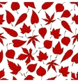 Falling red leaves seamless pattern background vector image