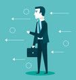 business man with suit holding briefcase vector image