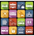 City infrastructure icons white vector image