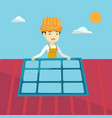 constructor installing solar panel vector image