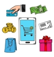E-commerce concept with payment options vector image