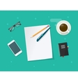 Paper sheet with pencil pen on workdesk vector image