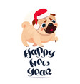 pug dog in santa hat on happy new year greeting vector image