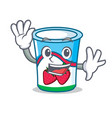 Waving yogurt character cartoon style vector image