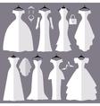 Wedding dresses silhouette setFashion flat vector image