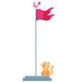 Cat sitting under the flag vector image