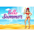 woman in hat on the beach Hello summer sun girl vector image