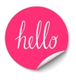 circle sticker with curled corner and hello vector image