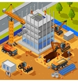 Construction Of Multistory Building Isometric vector image