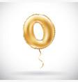 golden number 0 zero metallic balloon party vector image