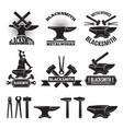 industrial logo set labels for blacksmith vector image