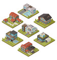 isometric house icon set vector image
