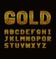 latin alphabet with golden texture vector image
