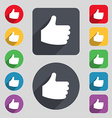 Like Thumb up icon sign A set of 12 colored vector image