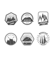 Snowy mountains labels collection vector image