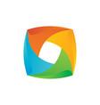 square 3d colored business finance logo ima vector image