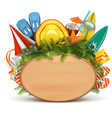 Wooden Board with Beach Accessories vector image